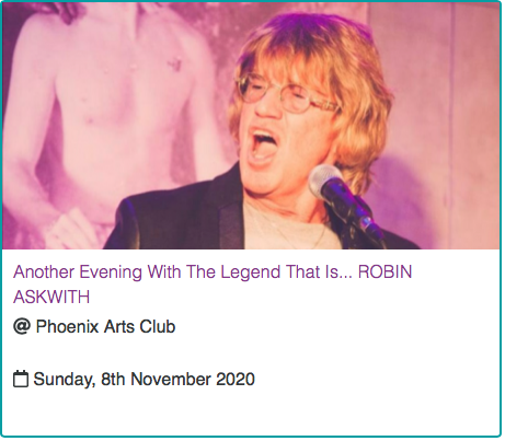 Another Evening With Robin Askwith - The Phoenix Art Club 8/11/2020